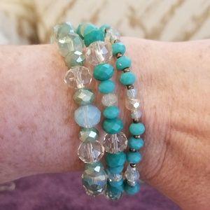 Triple Turquoise Beaded Stretch Bracelet (WHBM)